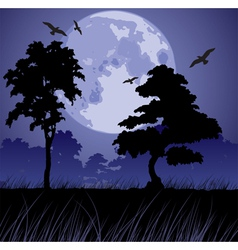 big blue moon and silhouettes of trees vector image vector image