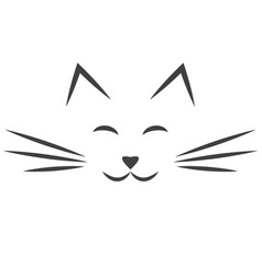 black cat face icon isolated on white vector image vector image