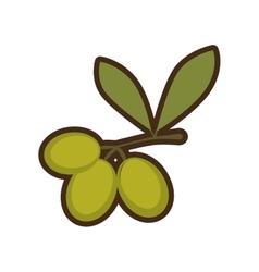 cartoon green three branch olive tree sign vector image vector image