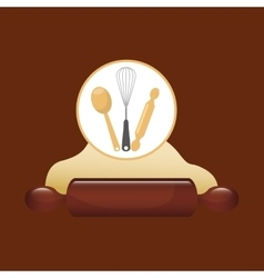 Cookware and wheat flour vector