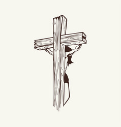 crucified jesus christ on the cross vector image