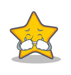 Crying star character cartoon style vector
