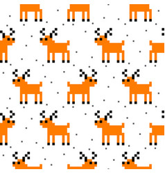 cute deer cartoon pixel art seamless pattern vector image