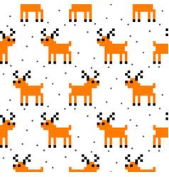 Cute deer cartoon pixel art seamless pattern vector