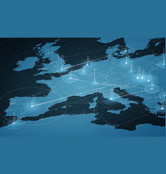 Europe blue map big data vector