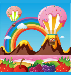 Fantacy land with canday balloons and fruits on vector