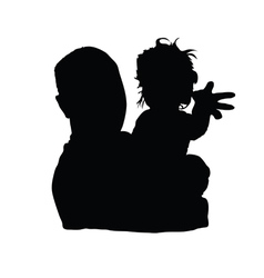 father with baby girl black vector image