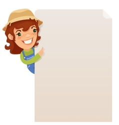Female Farmer looking at blank poster vector image vector image