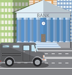 Flat design of bank building and parked vector