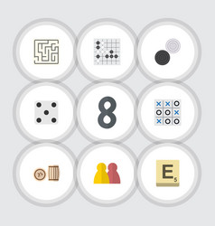Flat icon games set of people mahjong lottery vector