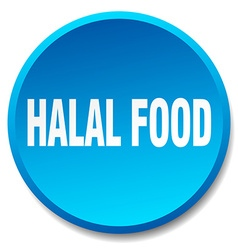 Halal food blue round flat isolated push button vector