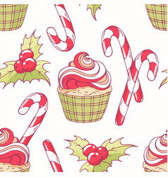 hand drawn seamless pattern with christmas cupcake vector image vector image
