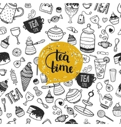 Hand drawn tea time vector