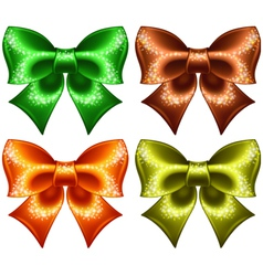 Holiday bows with glitter vector image vector image