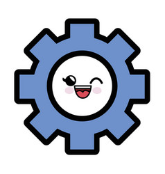 Kawaii gear wheel icon vector