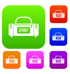 large sports bag set collection vector image vector image