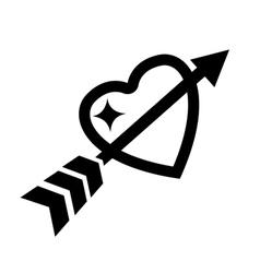 Love heart with arrow icon vector