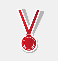 Medal simple sign new year reddish icon vector