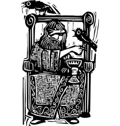 Odin on Throne vector image