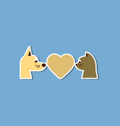Paper sticker on stylish background cat dog heart vector