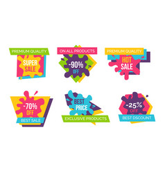 price labels set premium best super sale stickers vector image
