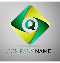 Q letter colorful logo in the rhombus template for vector
