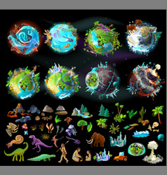 Set of planets and elements for game design vector