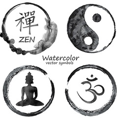 Watercolor set of yoga and buddhism icons vector image