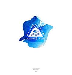 Yacht club logo Watercolor vector image