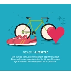 Bike shoes and heart pulse icon healthy lifestyle vector