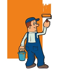 smiling house painter vector image