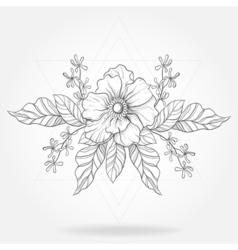 Freehand boho tattoo blackwork flower in hipster vector