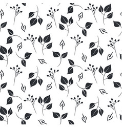 Leaves and dogrose seamless pattern vector