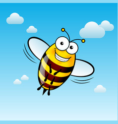 A friendly cute bee with smile in sky vector