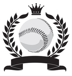 Logo with a wreath and a baseball vector