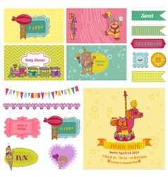 Baby shower circus party set vector