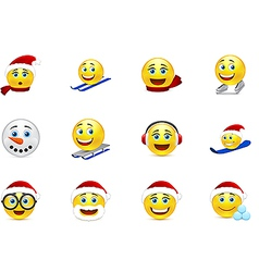 Christmas and new year smile collection vector