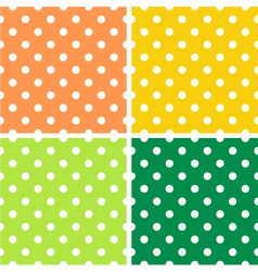 4 Dotted textures pack - orange yellow green vector image