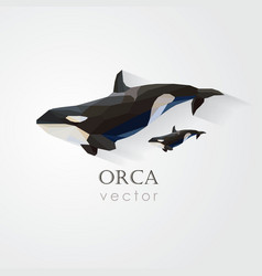 3d origami low polygon orca vector