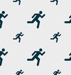 Running man icon sign seamless pattern with vector