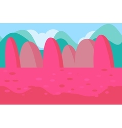 Seamless landscape of pink hills for game vector