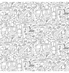 Airport doodle seamless pattern vector