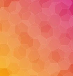 Abstract pink orange background with hexagons vector
