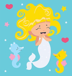 Amusing Little Mermaid and seahorses vector image vector image