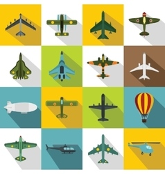 Aviation icons set flat style vector