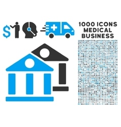 Banks Icon with 1000 Medical Business Symbols vector image vector image