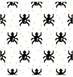 Black spider cartoon pixel art seamless pattern vector