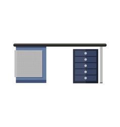 Blue Empty Computer Desk in Flat vector image