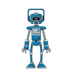 blue robot intelligence artificial vector image