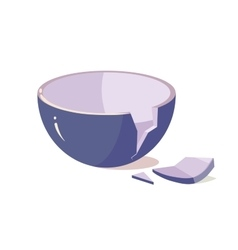 Broken Bowl on White Background vector image